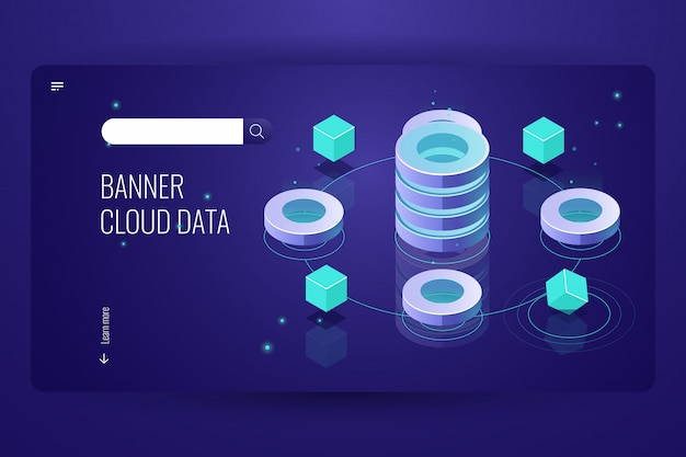 Isometrisches konzept der cloud-computing, dateneinsicht und -analyse, futuristischer gegenstand der informatik