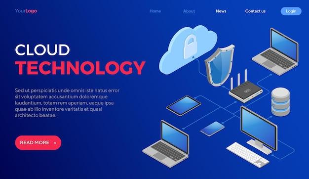 Isometrisches konzept der cloud-computing-technologie