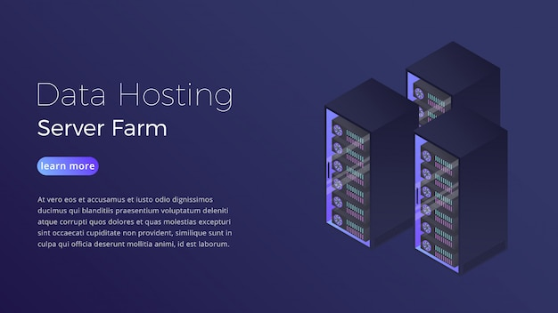 Isometrisches konzept der datacenter server-farm