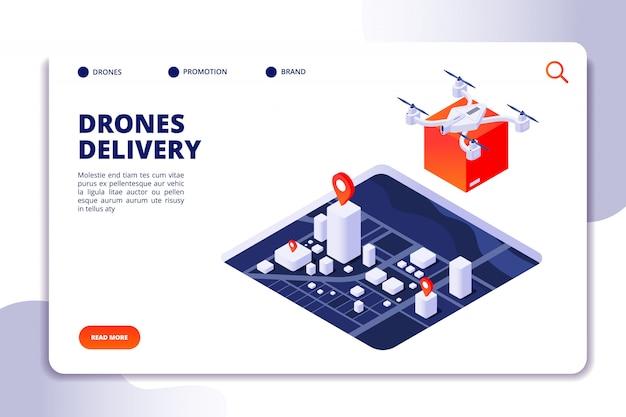 Isometrisches konzept der drohnenlogistik. zukünftige liefertechnologie, versand mit unbemannten drohnen und quadcopter. vektor-landingpage