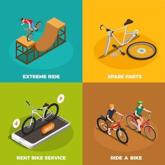 Isometrisches konzept der fahrräder mit mietfahrradservice-ersatzteilen und extremer fahrt lokalisiert