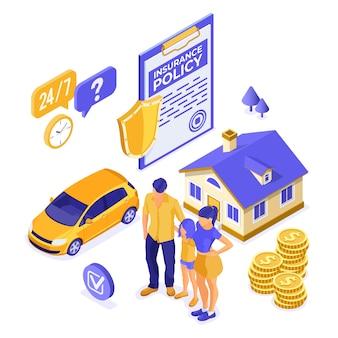 Isometrisches konzept der familienversicherung mit versicherungspolice in der zwischenablage