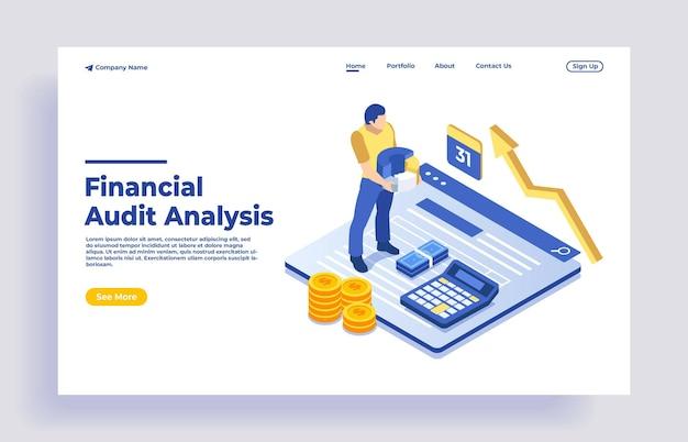 Isometrisches konzept der finanzverwaltung und der prüfung mit charakter