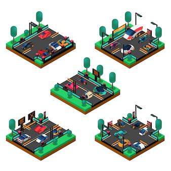 Isometrisches konzept der futuristischen fahrzeuge