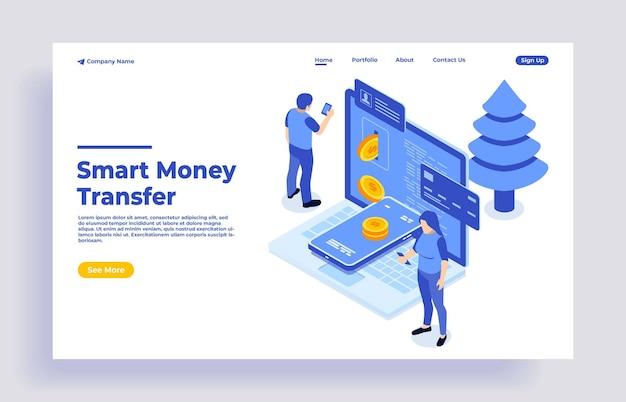 Isometrisches konzept der geldüberweisung mit zeichen