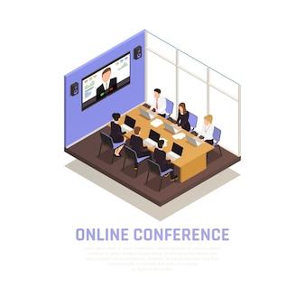 Isometrisches konzept der geschäftsonlinekonferenz mit kommunikationssymbolen