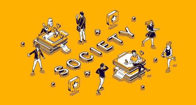 Isometrisches konzept der gesellschaft mit kleinen charakteren, die routine leben. menschen, die gadgets verwenden, sportliche aktivitäten ausüben, in internet-netzwerken kommunizieren, 3d-strichzeichnungen studieren und bearbeiten