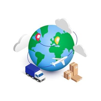 Isometrisches konzept der globalen logistik. 3d planet mit van, kisten, ponter, wolken und flugzeug herum. weltversand, lieferservice