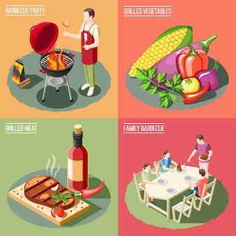 Isometrisches konzept der grill-grillparty mit verschiedenen servierbeispielen für grillgerichte mit menschen