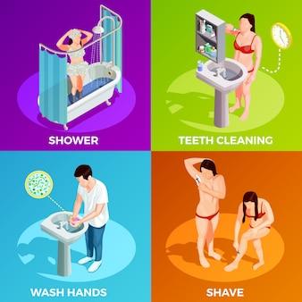 Isometrisches konzept der hygiene
