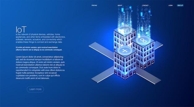 Isometrisches konzept der intelligenten stadt oder des intelligenten gebäudes. gebäudeautomation mit computernetzwerkillustration. engineering-systeme, sicherheit abstrakte 3d-stadtumgebung mit neuen technologien