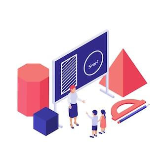 Isometrisches konzept der mathematikausbildung mit 3d-formillustration