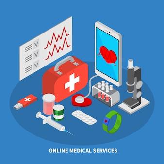 Isometrisches konzept der mobilen medizin mit illustration der medizinischen ausrüstungssymbole