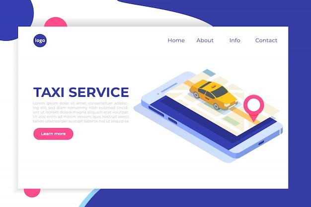 Isometrisches konzept der mobilen online-taxi-app. gps-routenpunkt und gelbe kabine.