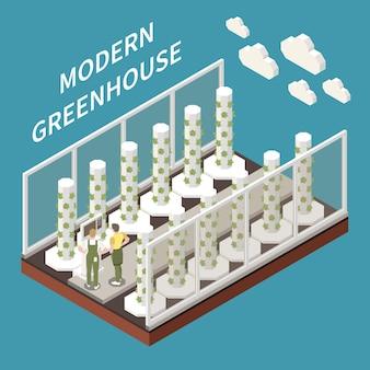 Isometrisches konzept der modernen gewächshauslandwirtschaft mit landwirtschaftssymbolillustration
