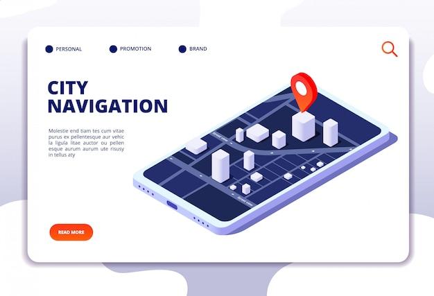 Isometrisches konzept der navigationskarte. gps-ortungssystem. telefon-tracker mit globaler positionierung. zielseite