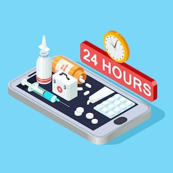 Isometrisches konzept der online-apotheke, illustration der 24-stunden-apotheken-app