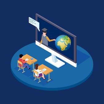 Isometrisches konzept der online-astronomie-lektion. der fernlehrer erzählt den kindern etwas über die illustration von erde und weltraum