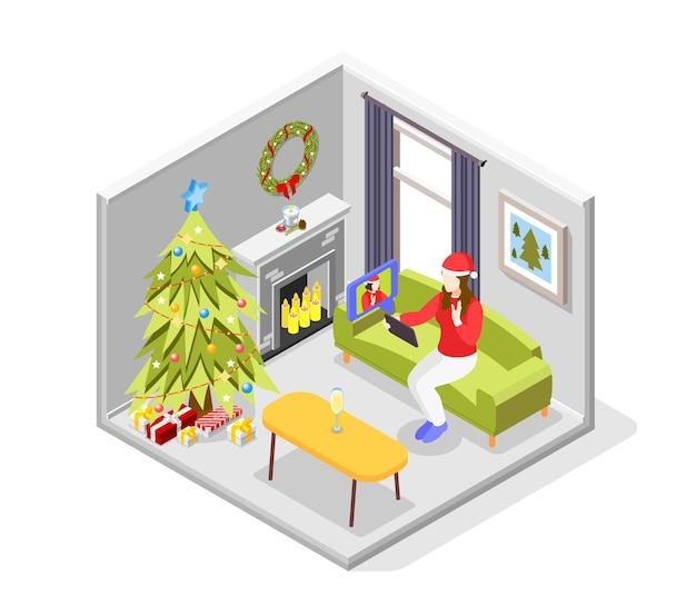 Isometrisches konzept der remote-quarantäneparty mit symbolillustration für die neujahrsfeier