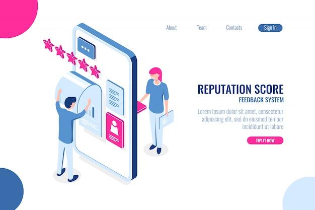 Isometrisches konzept der reputationsbewertung, meinung mit stern auf der handy-app, feedback