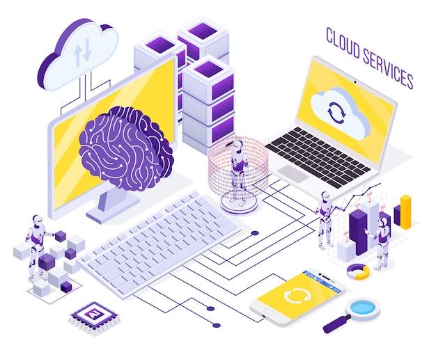 Isometrisches konzept der roboterautomatisierung mit robotern, die mit cloud-diensten und datenspeicherung arbeiten