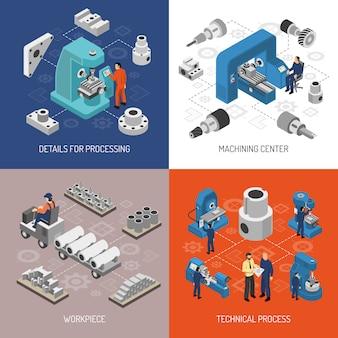 Isometrisches konzept der schwerindustrie