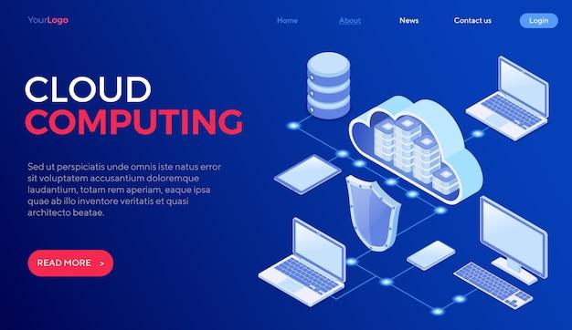 Isometrisches konzept der sicheren cloud-computing-technologie mit schutzschild