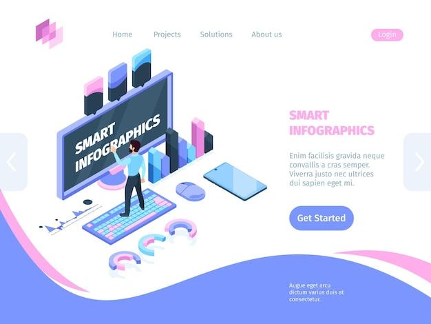 Isometrisches konzept der smart site-infografik. illustration site smart infografiken landing page man tastatur berührt monitor nächste grafische elemente smartphone-programm statistisch.