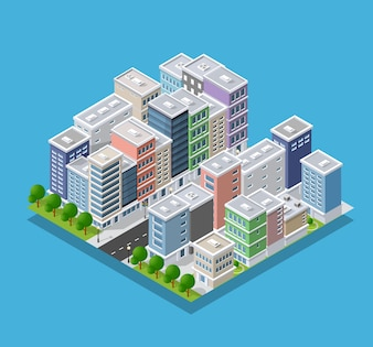 Isometrisches Konzept der Stadt der städtischen Infrastruktur