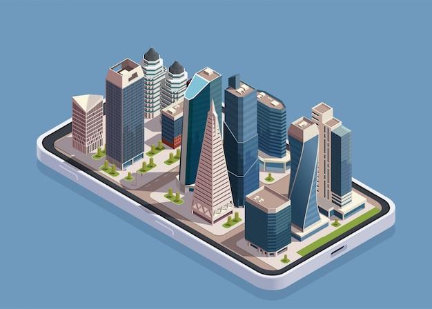 Isometrisches konzept der stadtwolkenkratzer mit telefonkörper und block der modernen gebäude oben auf bildschirmvektorillustration
