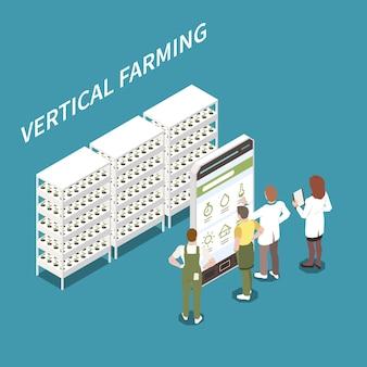 Isometrisches konzept der vertikalen landwirtschaft mit intelligenten technologiesymbolen