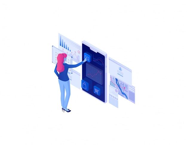 Isometrisches konzept der webanalyse. online-technologie-analysestrategie, entwicklung von diagrammen.