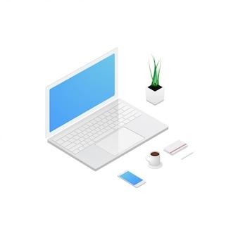Isometrisches konzept des arbeitsplatzes mit computer laptop handy und büroausstattung