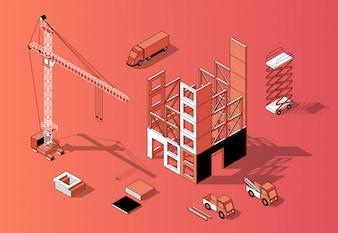 Isometrisches Konzept des Aufbaus 3d, errichtendes Äußeres