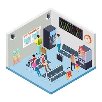 Isometrisches konzept des bahnhofs-, busbahnhof- oder flughafenwartebereichs