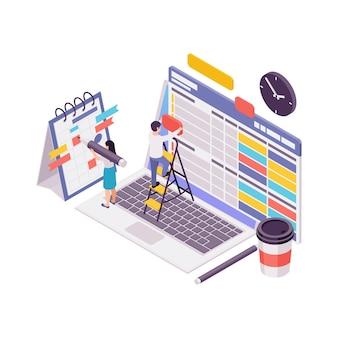 Isometrisches konzept des bloggens mit der 3d-illustration des inhaltsplanerstellungsprozesses