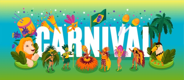 Isometrisches konzept des brasilianischen tanzenden karnevals mit illustration der leistung und der spaßsymbole