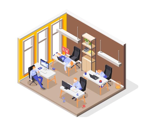 Isometrisches konzept des burn-out-syndroms mit stressiger arbeitssymbolillustration