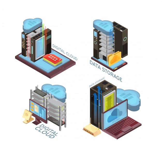 Isometrisches konzept des datenwolkendienstes mit hosting-server, informationsübertragung, computer und tragbaren geräten lokalisierte vektorillustration