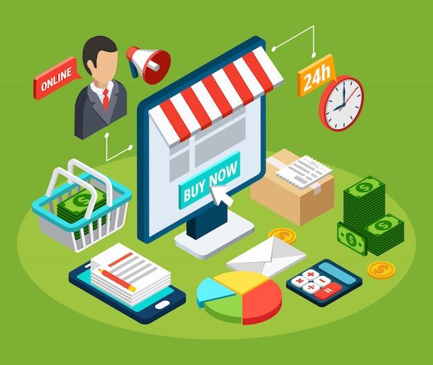 Isometrisches konzept des digitalen marketingdienstes mit 3d-vektorillustration des online-shops