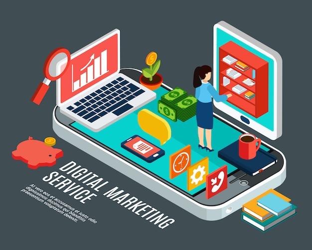 Isometrisches konzept des digitalen marketingdienstes mit verschiedenen elektronischen geräten und frau bei der arbeit 3d vektorillustration