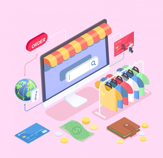 Isometrisches konzept des einkaufs-e-commerce mit zusammensetzung der desktop-computer-kleiderschienen-bargeld- und kreditkartenvektorillustration