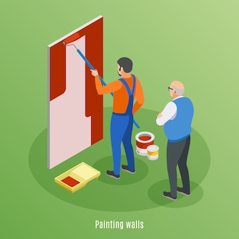Isometrisches konzept des entwurfes der hauptreparatur mit handwerkermalereiwand und überwachungsarbeitsillustration des älteren kunden