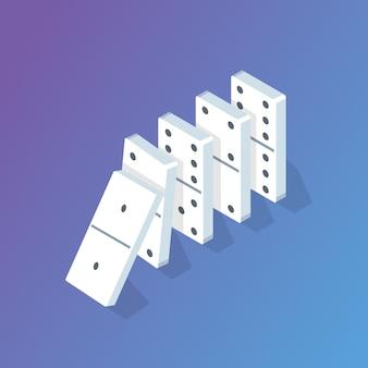 Isometrisches konzept des fallenden dominoeffekts. vektorillustration