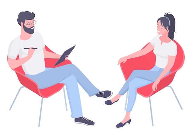 Isometrisches konzept des flachen entwurfs für psychotherapie-sitzung