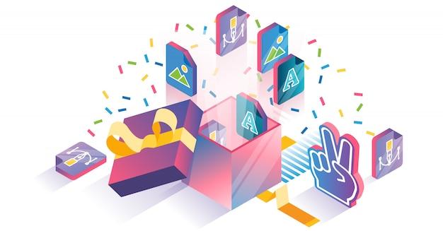 Isometrisches konzept des freien downloads der digitalen datei