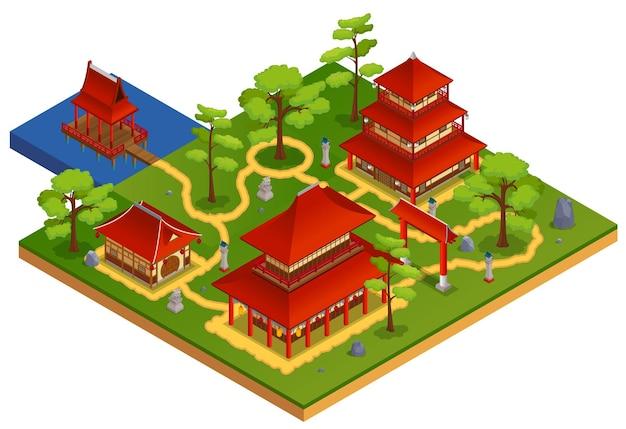 Isometrisches konzept des gartens und der landschaft der asiatischen gebäude