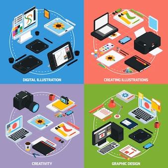 Isometrisches konzept des grafikdesigns