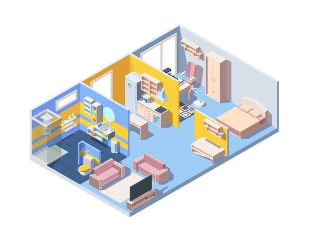 Isometrisches konzept des innenraums der wohnung.