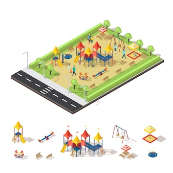 Isometrisches konzept des kinderspielplatzes